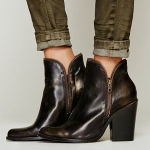 Jeffery Campbell black leather cowboy booties.